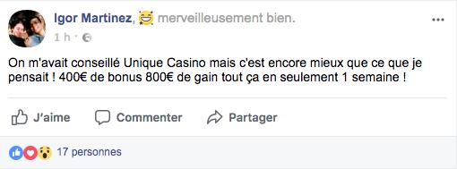 avis facebook unique casino