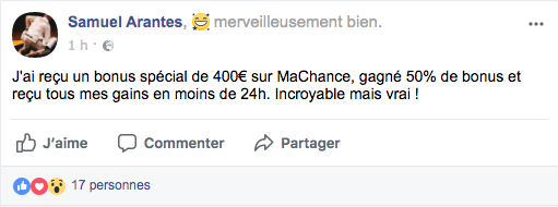 Avis Facebook Machance Casino