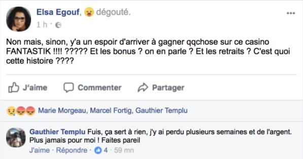 Avis Casino Fantastik commentaires Facebook