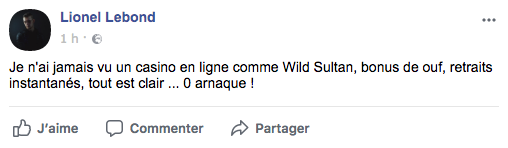 commentaire facebook wild sultan